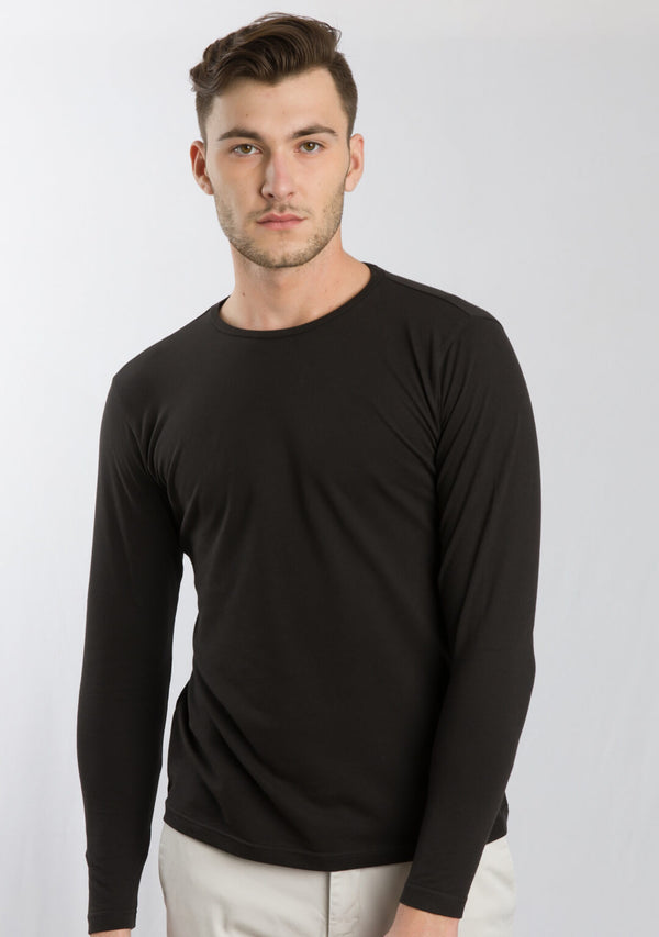 Full Sleeve Piqué T-shirt In Black