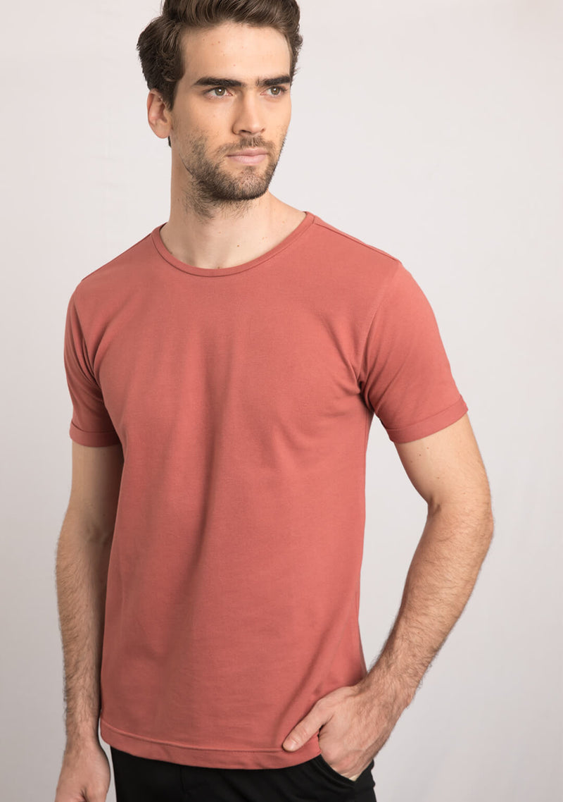 brick color t shirt for men image