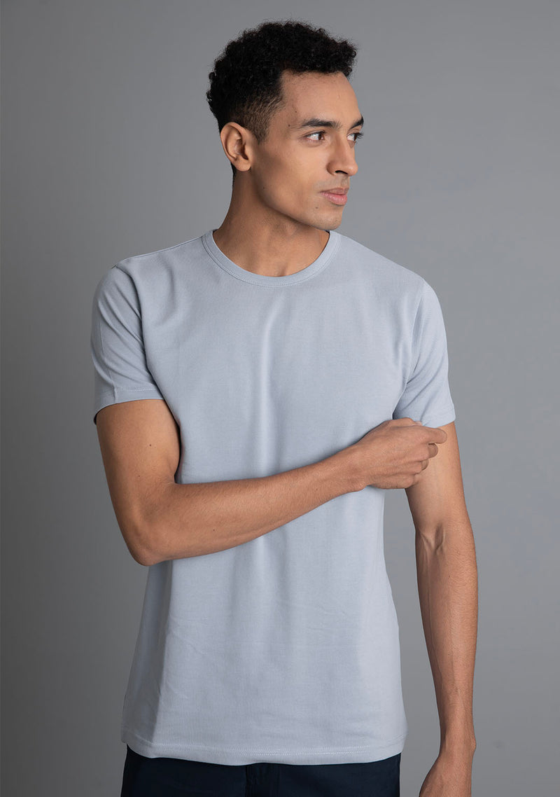 Piqué T-Shirt in Gray Dawn