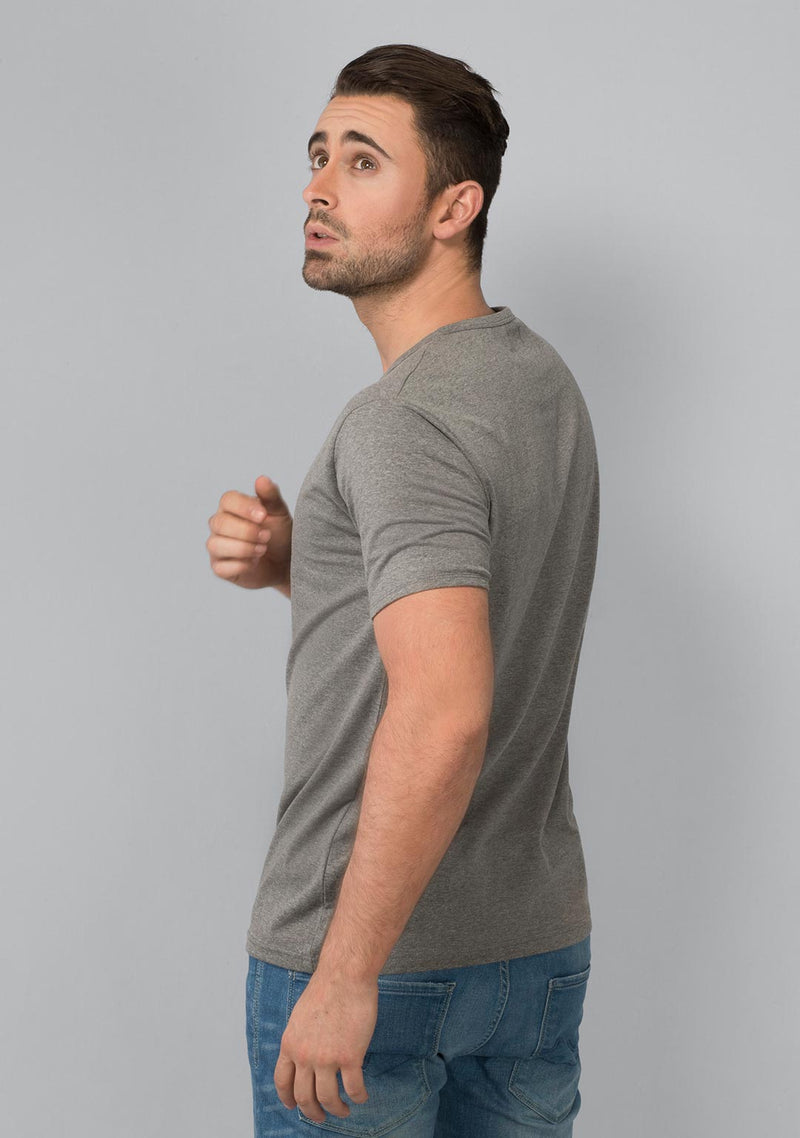Grey colored Henley T-shirt Mélange