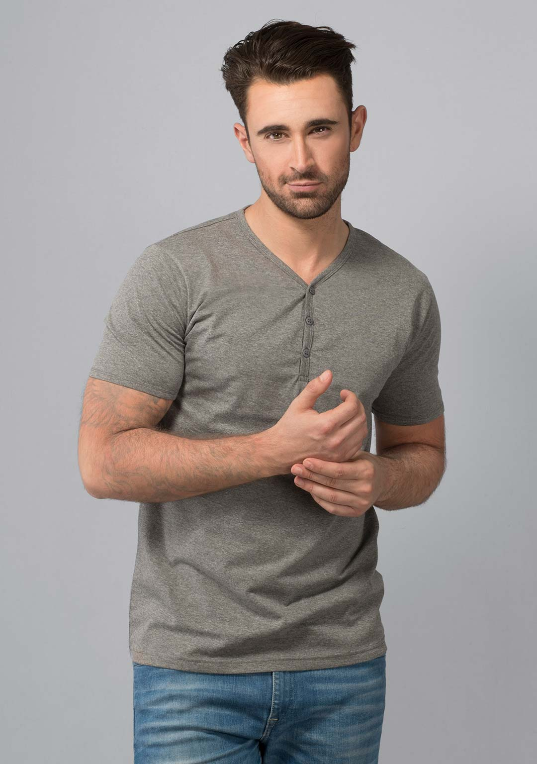 Henley T-shirt in Grey Mélange