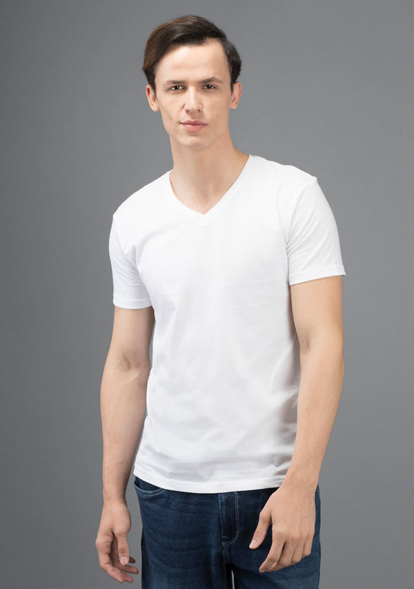 white color v neck t shirt for men