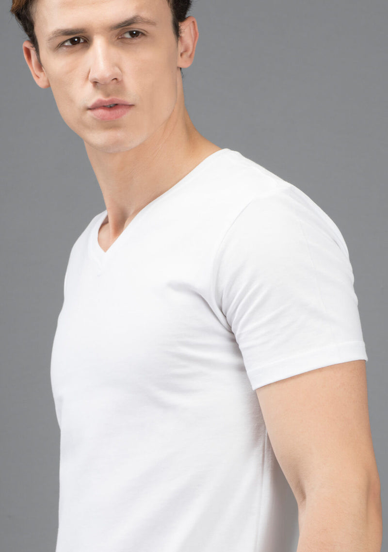 white v neck t shirt for men