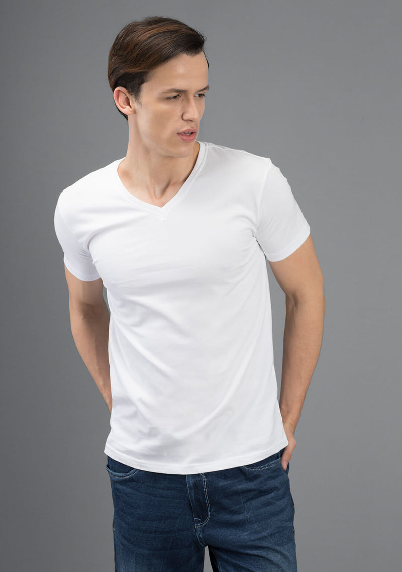 white color v neck t shirt online