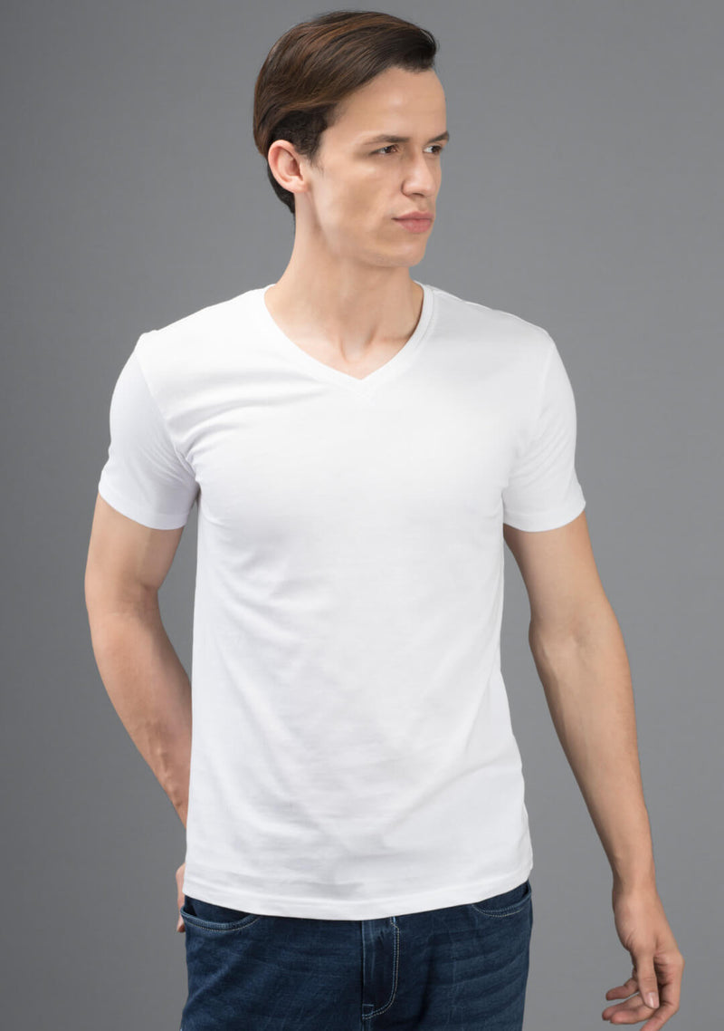 white color v neck t shirt India