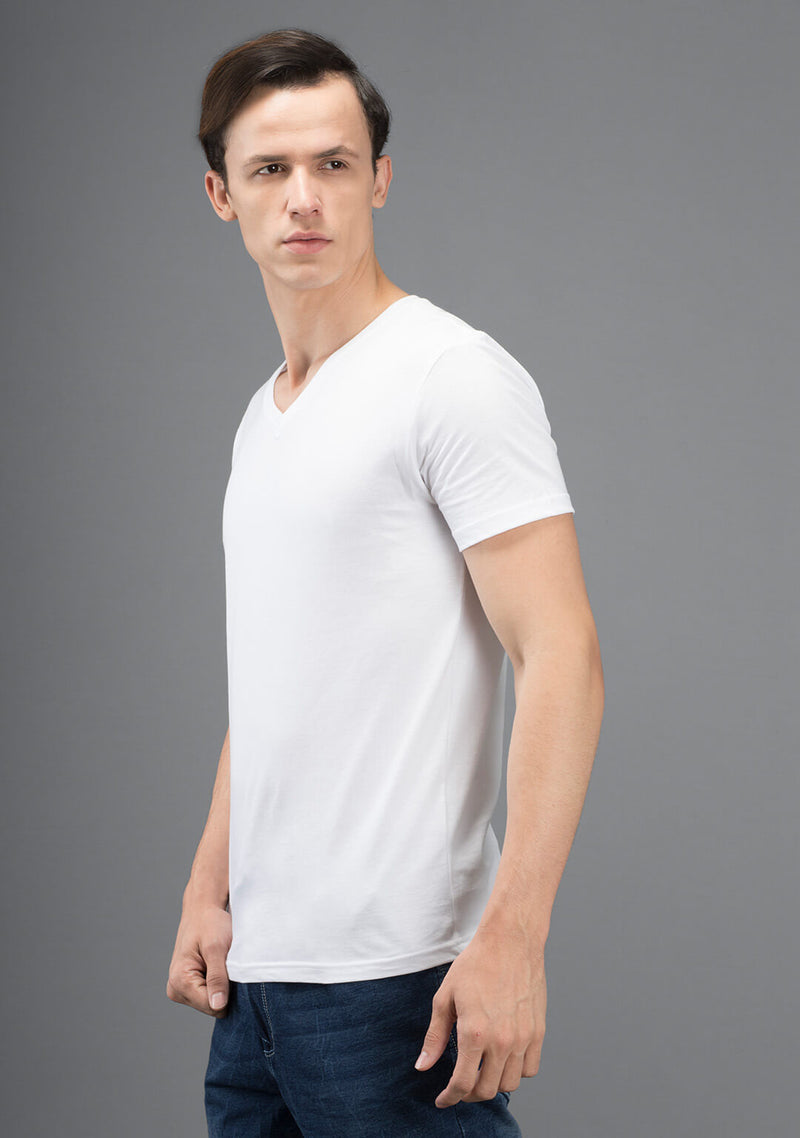 white color v neck t shirt