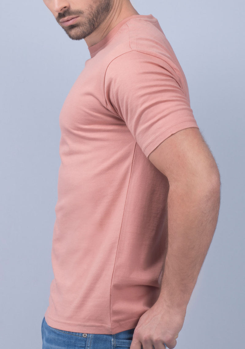 coral color crew neck t shirt online