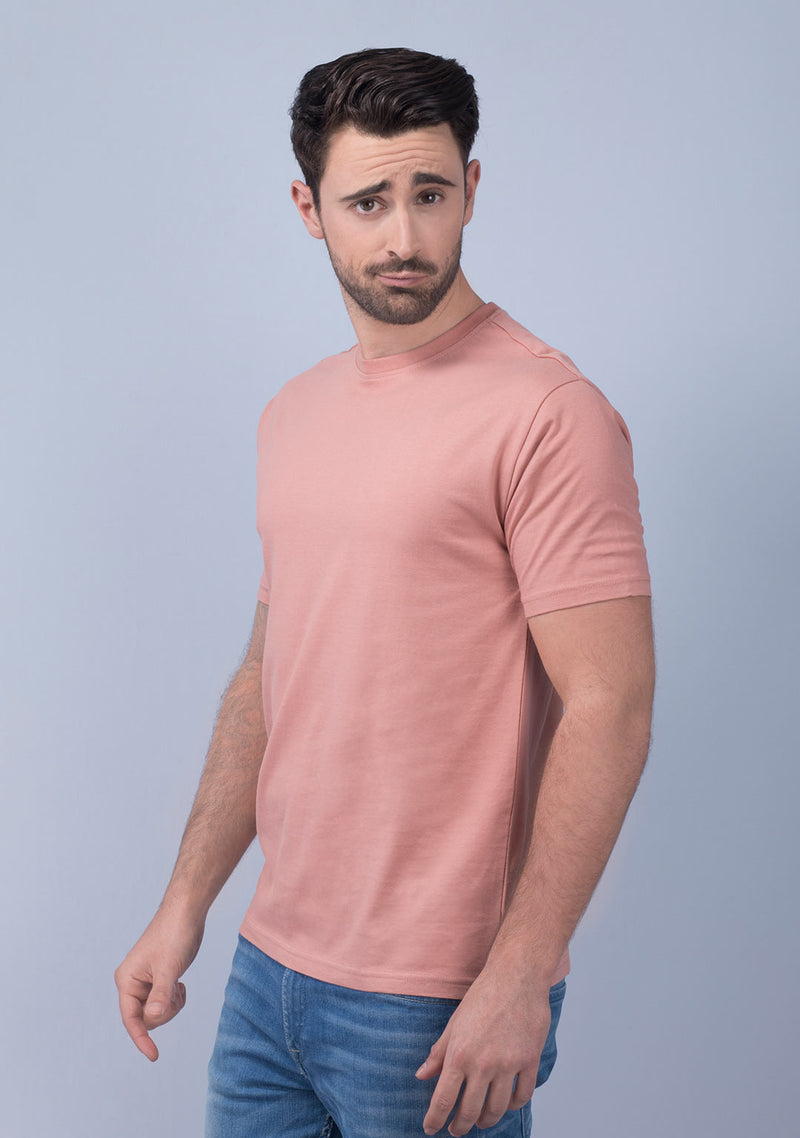 coral color crew neck t shirt India