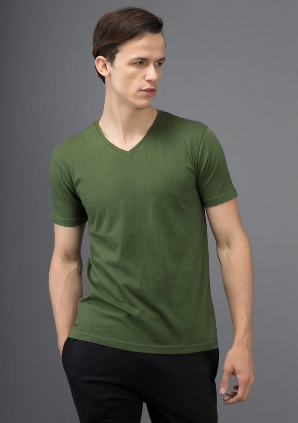 Irish Green Color V Neck T Shirt
