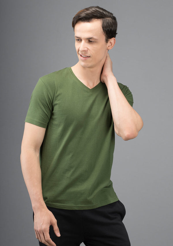 Irish Green Color V Neck T Shirt Online