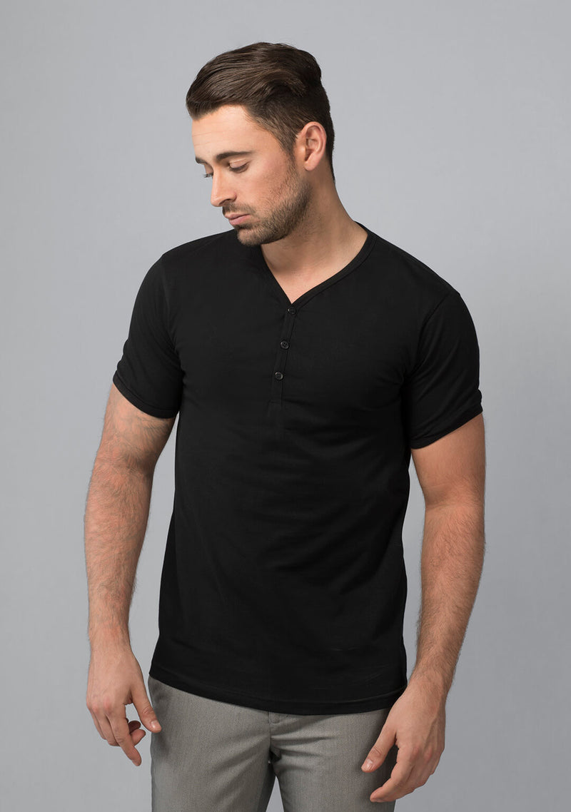 Henley T-shirt in Jet Black for Men