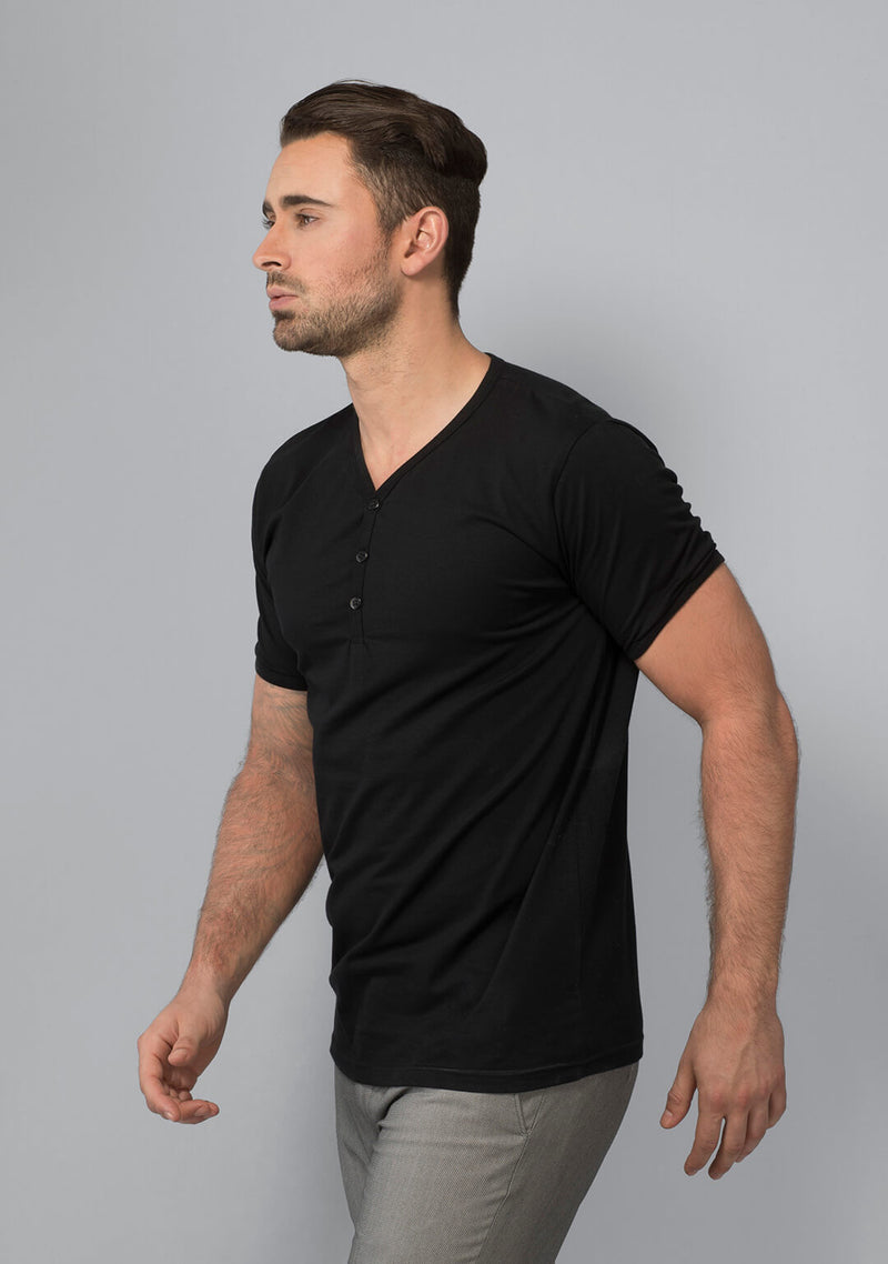 Buy Henley T-shirt in Jet Black