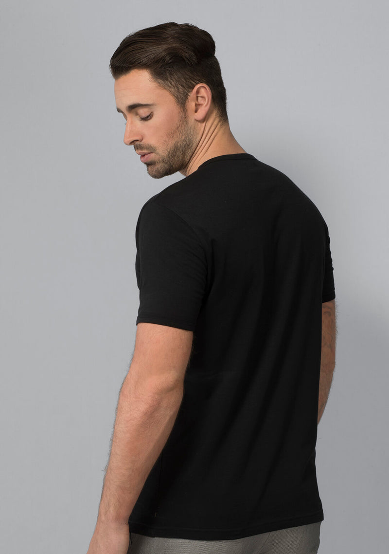 Jet Black Henley T-shirt for Men