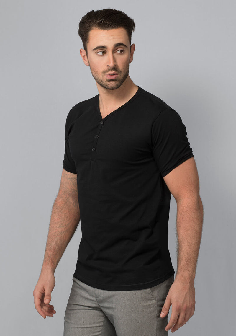 Henley T-shirt in Jet Black Online