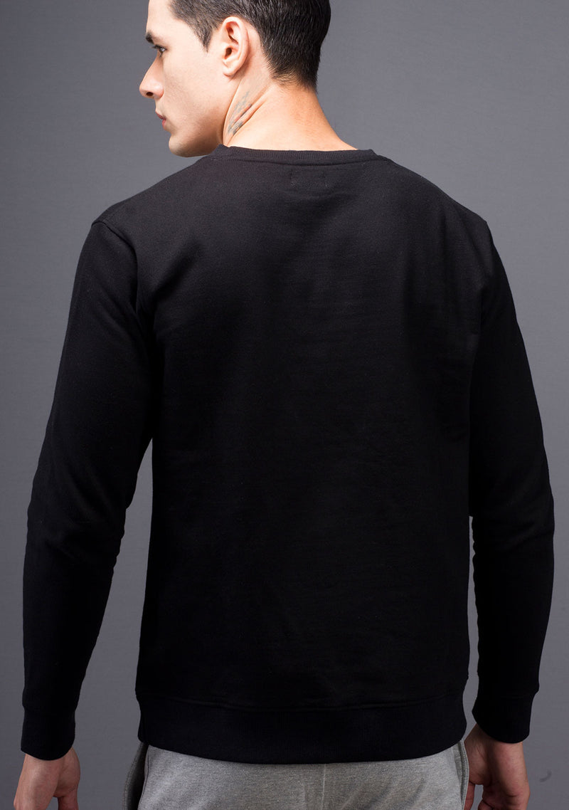 Jet Black Color Sweatshirt for Men