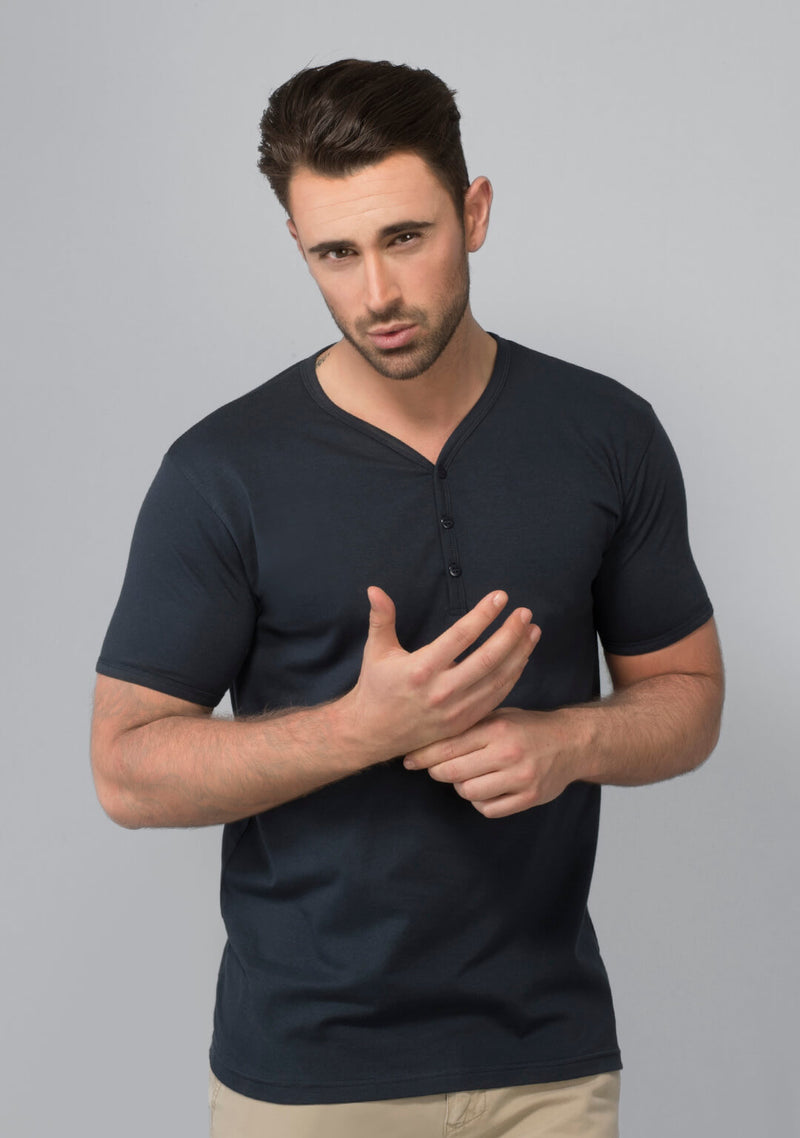 Buy Henley T-shirt in Midnight Navy
