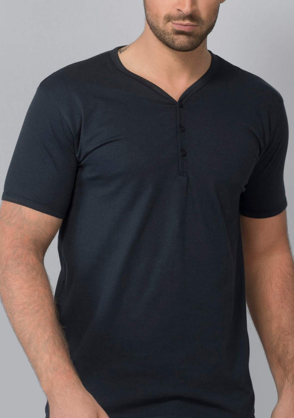 Midnight Navy Henley Shirt