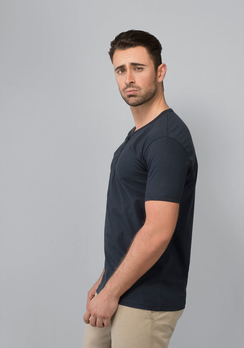 Henley T-shirt in Midnight Navy for Men