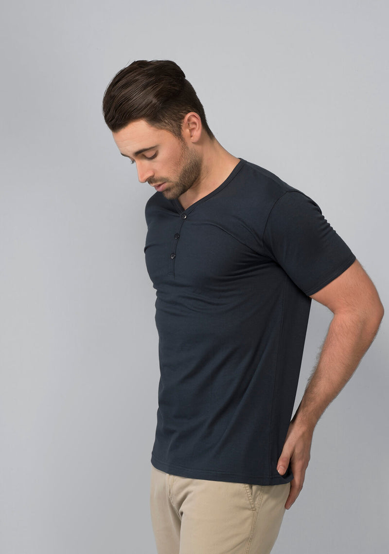 Shop Henley T-shirt in Midnight Navy India