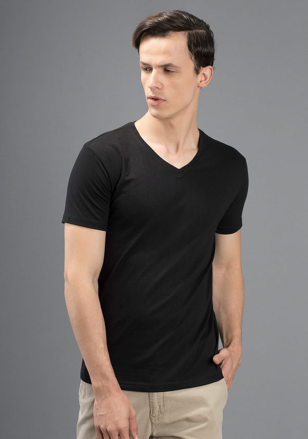 Ninja Black Color V-Neck T Shirts