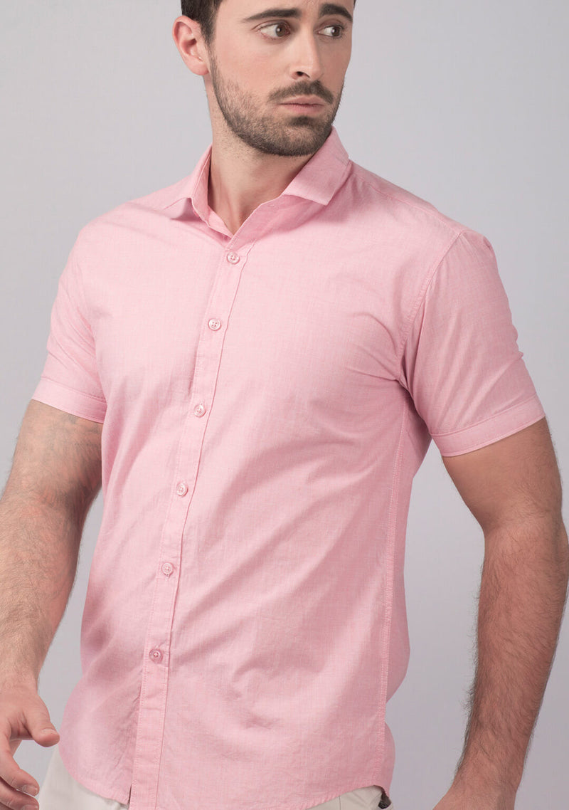 Pale Pink Short Sleeve Shirt for Men