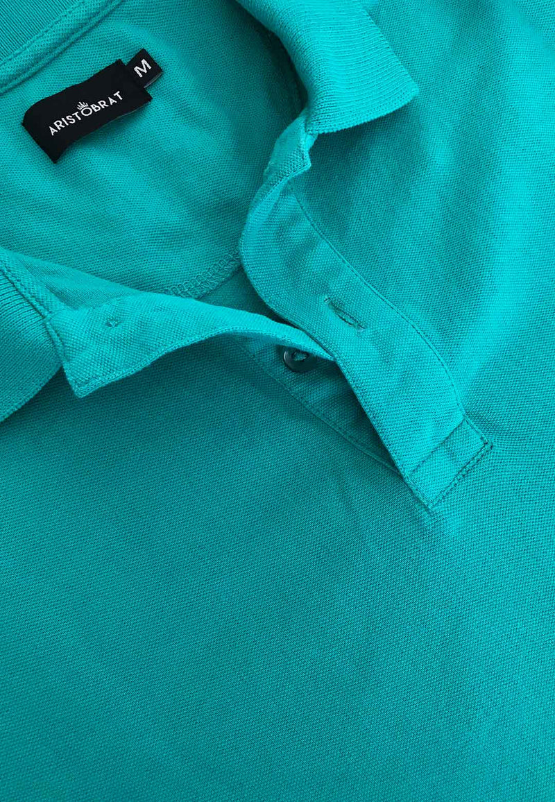 Sea Green Colored Polo T-shirt for Men