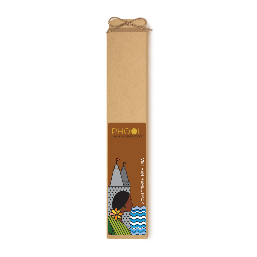 Phool Organic Incense Sticks-  Refill Pack- Vetiver (80 pieces)