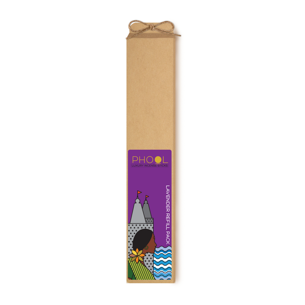 Phool Organic Incense Sticks- Refill Pack- Lavender (80 pieces)
