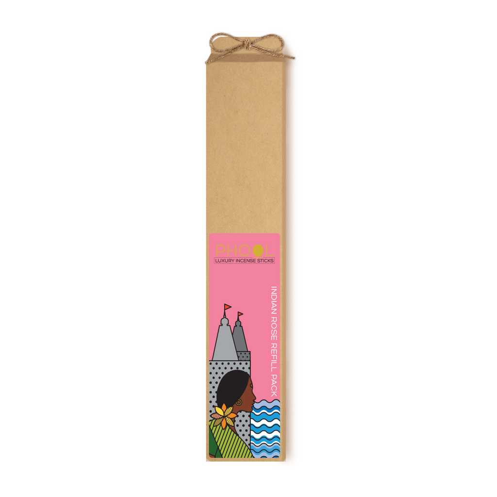 Phool Organic Incense Sticks- Refill Pack- Indian Rose (80 pieces)
