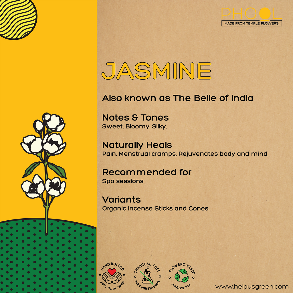 Phool Organic Incense Sticks- Jasmine (40 pieces)