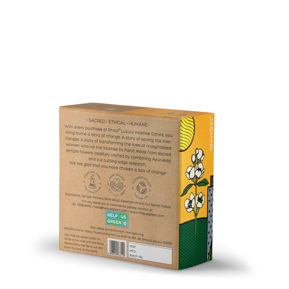 Phool Organic Incense Cones- Jasmine (40 pieces)