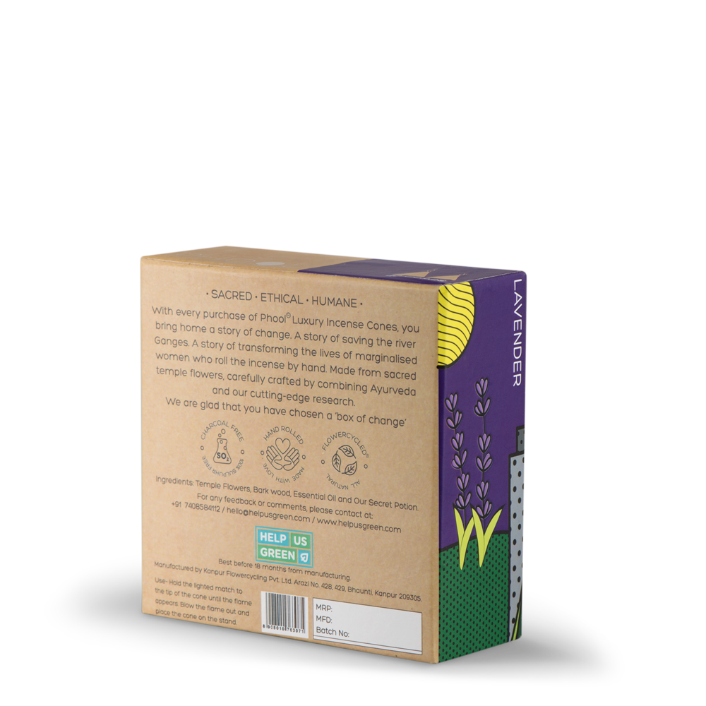 Phool Organic Incense Cones- Lavender (40 pieces)