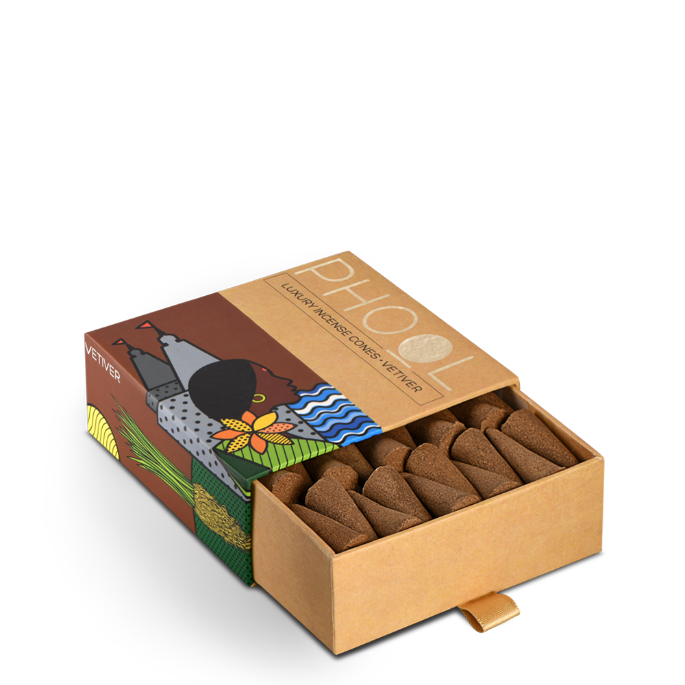 Phool Organic Incense Cones- Vetiver (40 pieces)