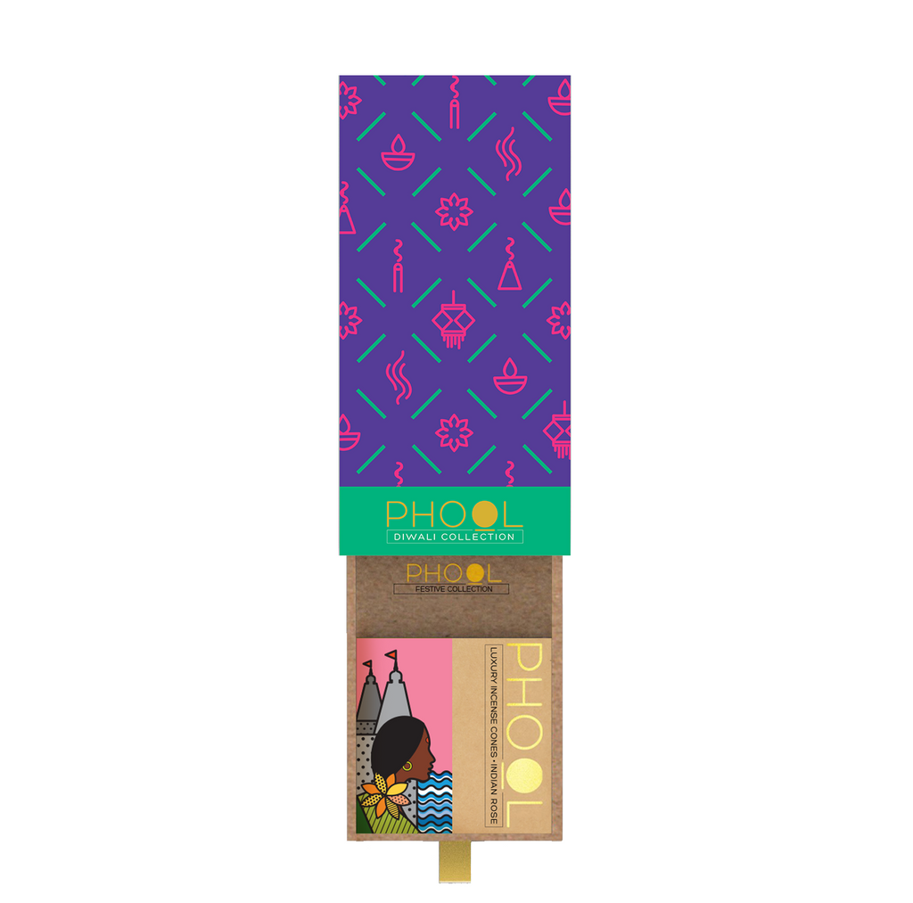 Diwali Giftbox - Phool Incense Cones Festive Pattern (2 fragrances)