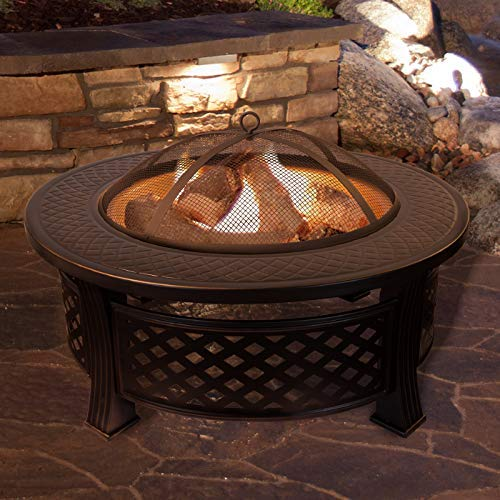 "Mcombo 32"" Metal Fire Pit Round Table Backyard Patio Terrace Fire Bowl Heater/BBQ/Ice Pit with Charcoal Rack Waterproof Cover 0034, Black"