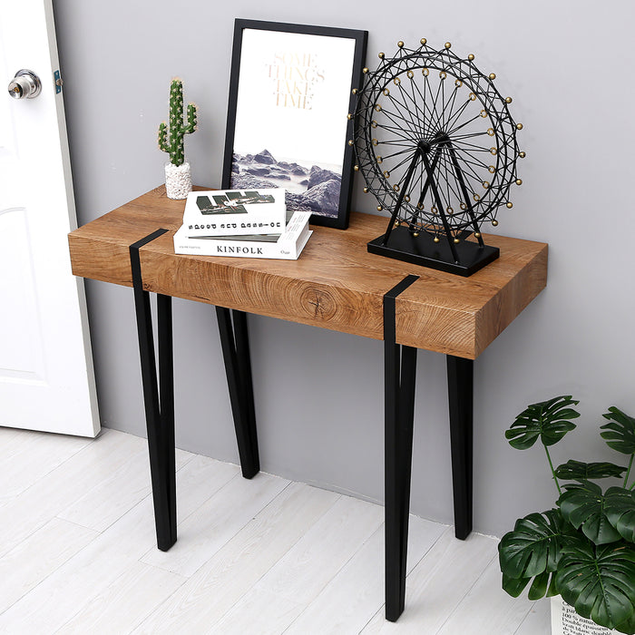 Mcombo Modern Industrial console table Farmhouse Metal Frame Rustic Modern  Wood Table for Entryway Living Room 6090-KAPER-WT