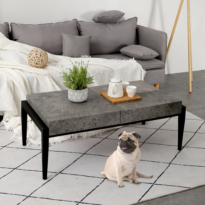 Mcombo Modern Industrial Coffee Table Gray Cement Finish Thicker Table Top Rustproof Metal legs for Living Room Cocktail Table 6090-SEAS-CT