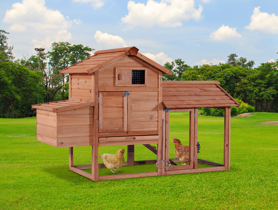 Lovupet 60'' Wooden Chicken Coop Poultry Hen House Rabbit Hutch Cage 0313