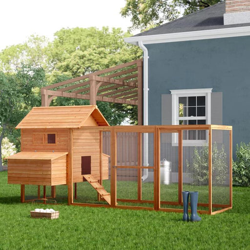 Lovupet 12ft Large Backyard Hen House Chicken Coop w/Long Run, Base Panel