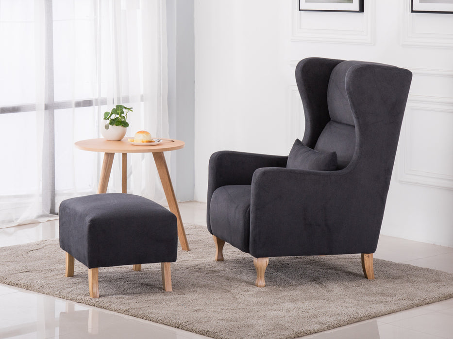 Elegant Upholstered Wingback Fabric Suede Accent Chair W/Ottoman Living Room Set (Grey)