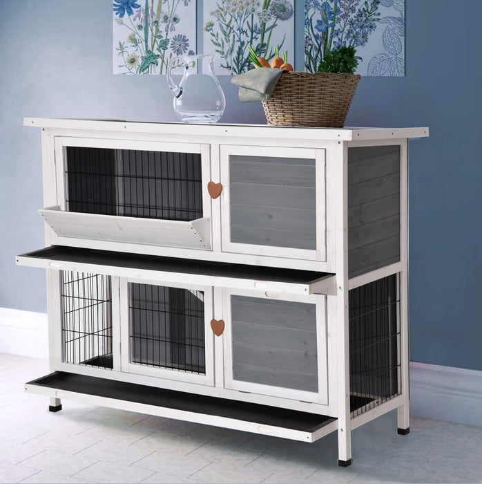 "Lovupet 48"" Wooden Rabbit Hutch Small Animal House Pet Cage Chicken Coop 0323L"