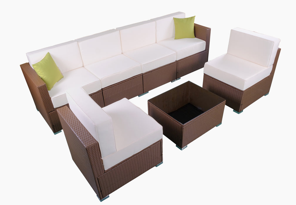 Mcombo Patio Furniture Sectional Sets Wicker Rattan Couch Sofa Chair