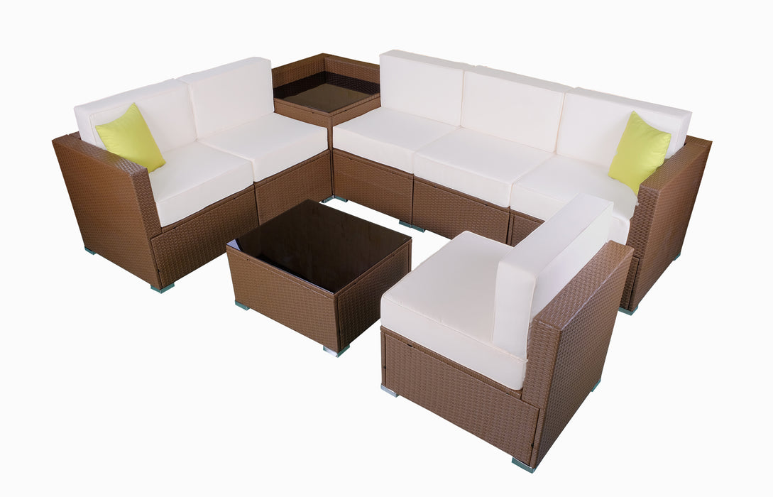 MCombo Patio furniture sectional Sets Wicker Rattan Couch Sofa Chair Luxury Big Size 8 PC