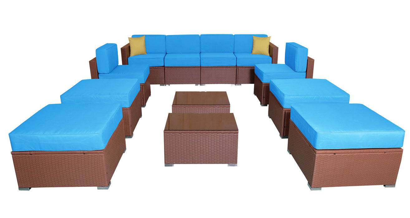 MCombo Patio furniture sectional Sets Wicker Rattan Couch Sofa Chair Luxury Big Size 12 PC