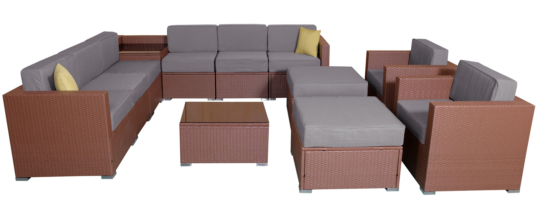 MCombo Patio furniture sectional Sets Wicker Rattan Couch Sofa Chair Luxury Big Size 13 PC
