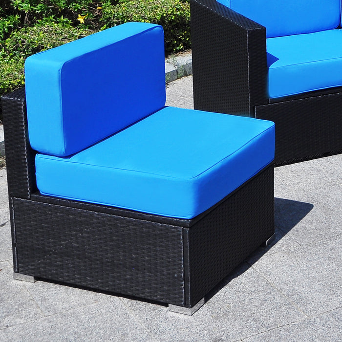 Mcombo Outdoor Patio Black Wicker Furniture Sectional Set All-Weather Resin Rattan Chair Modular Sofas with Water Resistant Cushion Covers 6082-5002LC-BK