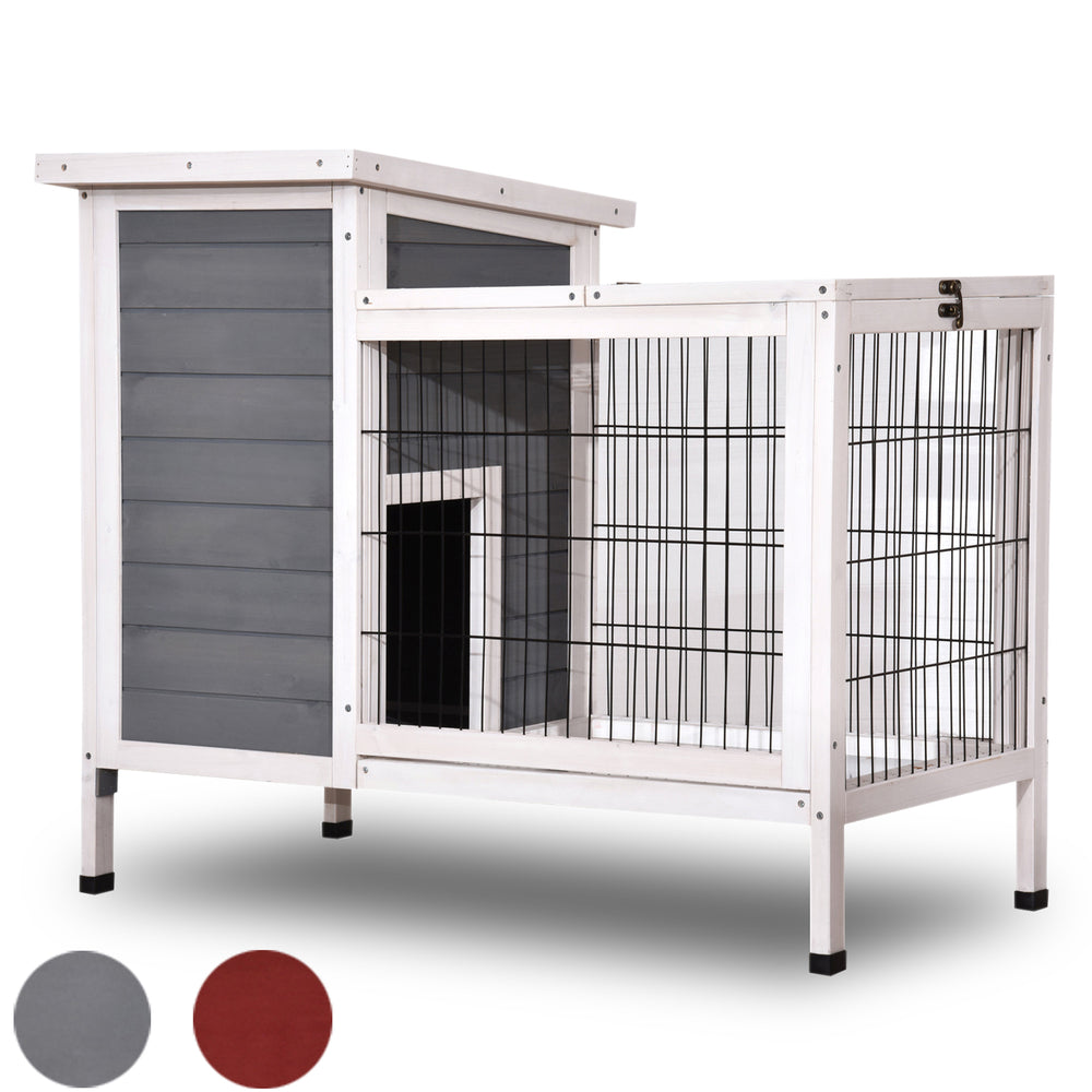 Lovupet Wooden Rabbit Hutch Bunny Cage Bunny Hutch for Indoor Outdoor with Yard 1510