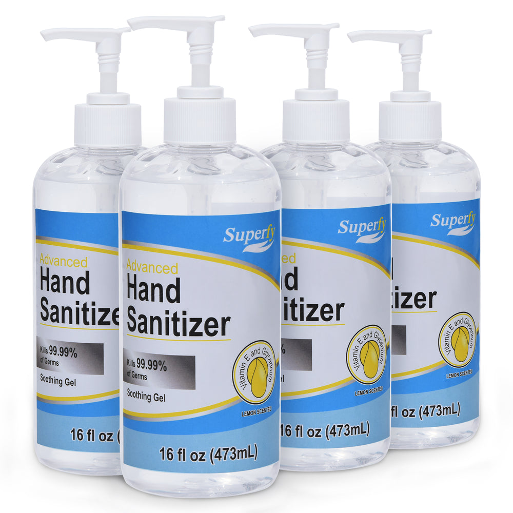 Superfy Hand Sanitizer with Alcohol Moisturizing Gel Hand Wash with Pump,No-wash,Quick-drying  16 fl.oz (Pack of 4)
