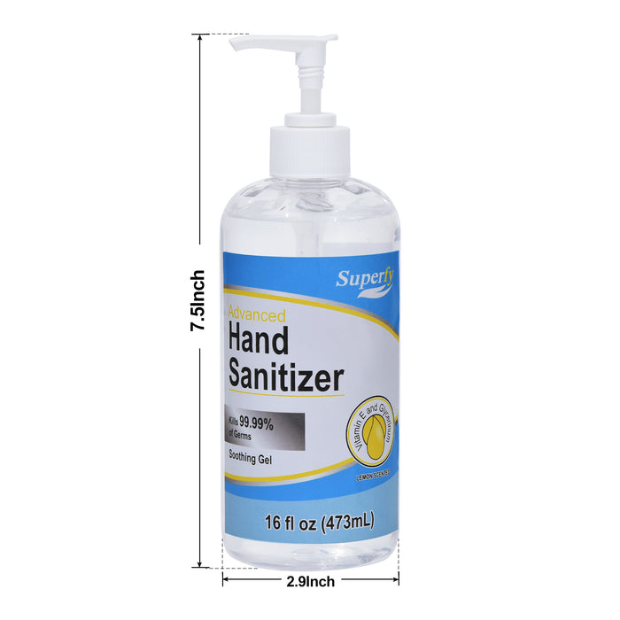 Superfy Hand Sanitizer with 70% Alcohol, Moisturizing Gel Hand Wash with Pump, No-residue, Quick-drying,16 fl.oz (Pack of 2)