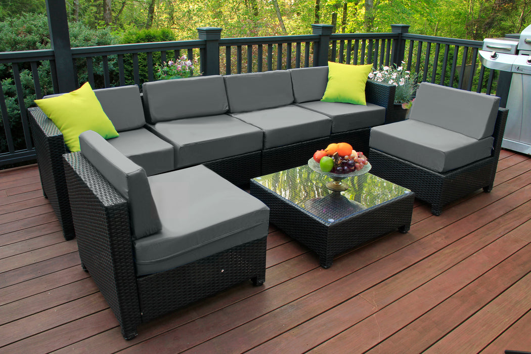 mcombo 7 PC Deluxe Outdoor Garden Patio Rattan Wicker Furniture Sectional Sofa Cushioned Seats 6080 Aluminum frame 6080-1007